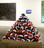 Basketball Pyramid at Disjecta by David Huffman artist
