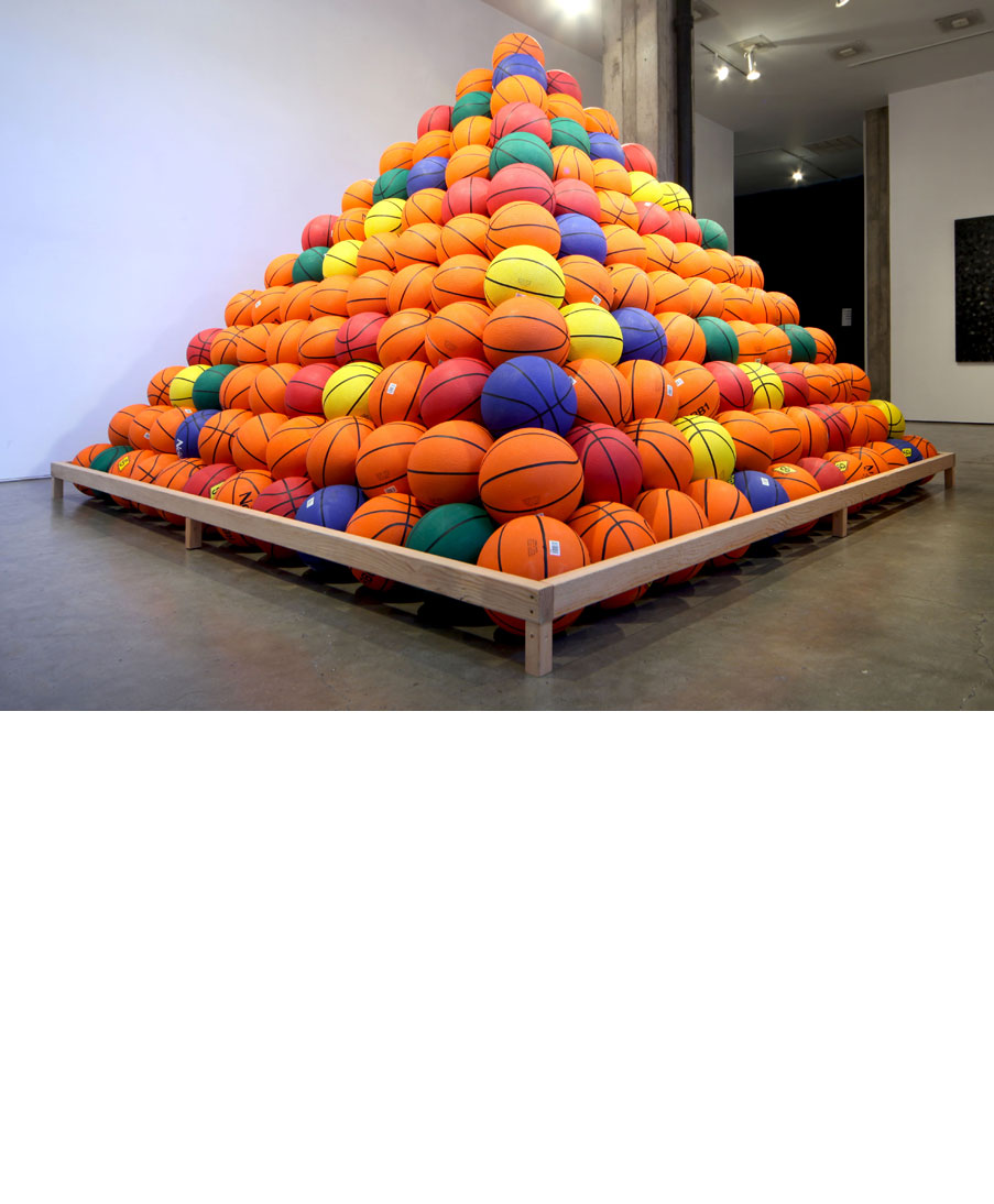 Basketball Pyramid sculpture installation by artist David Huffman