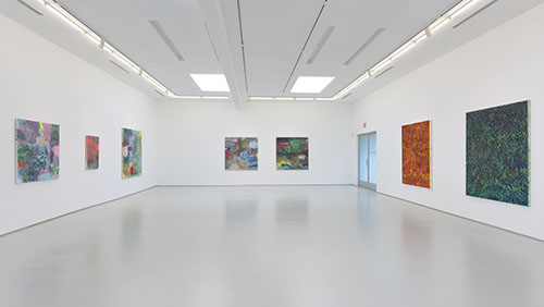 Installation shot of artist David Huffman's solo exhibit, Worlds in Collision, at the Roberts and Tilton Gallery
