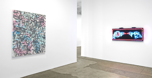 Galerie Lelong installation shot including painting by artist David Huffman, at left